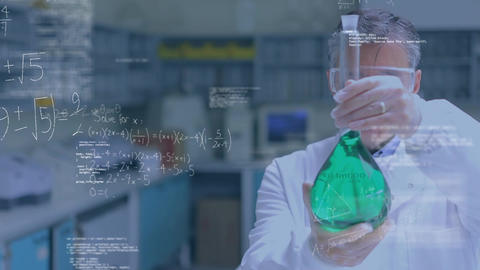 Scientist studying a chemical Animation