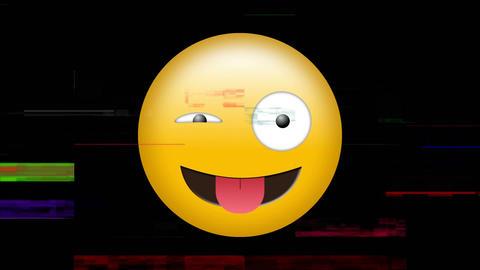 Winking emoji and pixel noise Animation