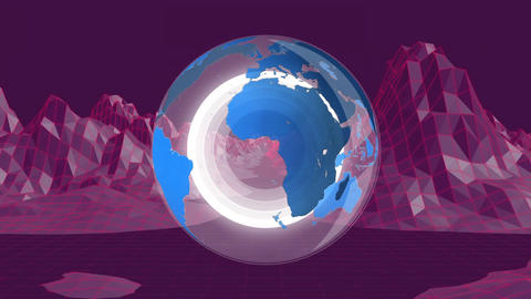Globe and landscape graph Animation