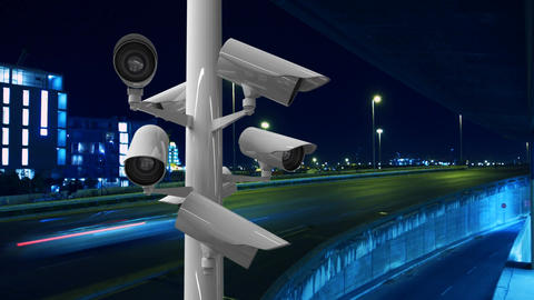 Surveillance cameras in a highway Animation