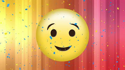 Winking face emoji with confetti Animation