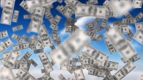 Dollar bills floating Animation