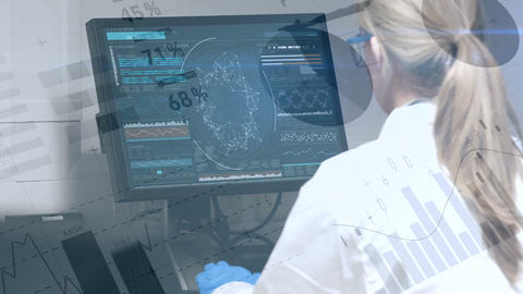 Female scientist looking at a screen 4k Animation