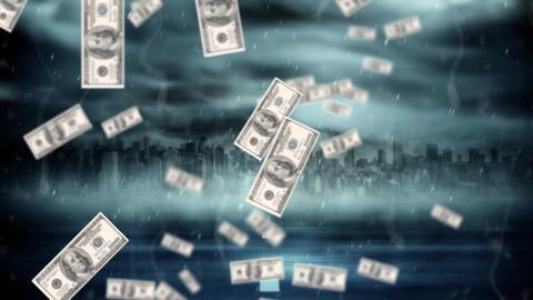 Storm of dollar bills Animation