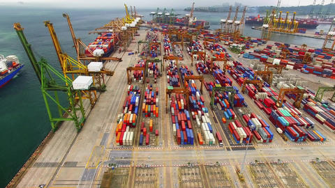 Flying drones at a port Animation