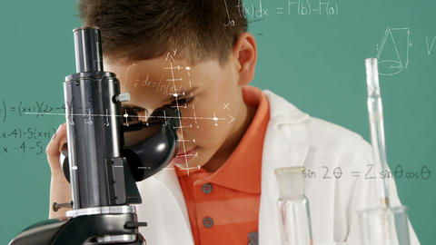 Little boy studying a microscope 4k Animation