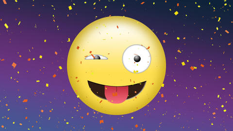 Winking emoji and confetti Animation