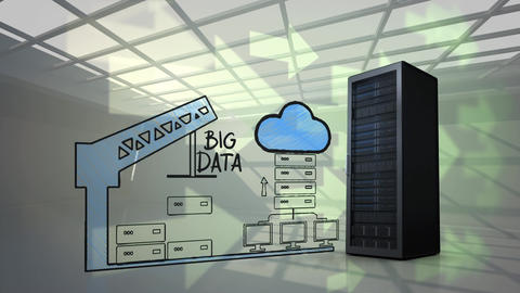 Server tower and an illustration of cloud storage Animation
