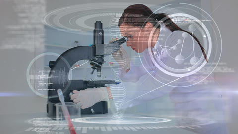 Scientist looking through microscope Animation