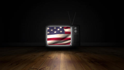 Television with an American flag Animation