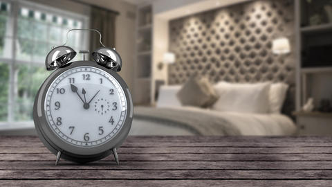 Alarm clock in bedroom Animation