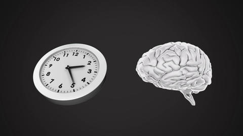 Clock ticking and brain rotating Animation