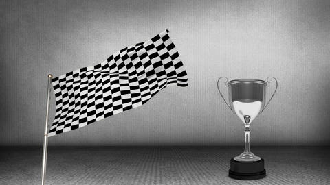 Racing flag beside a trophy Animation