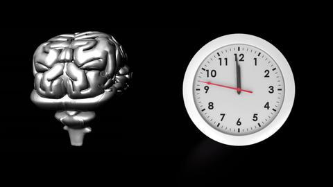 Human brain and clock Animation