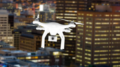 Drone flying in the city Animation
