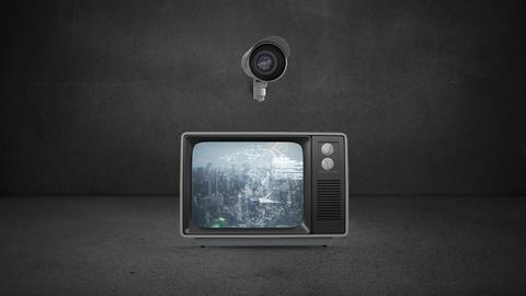 Surveillance cameras and screens Animation