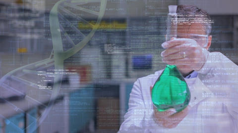 Chemist studying a liquid in a flask Animation
