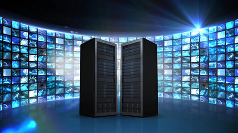 Server towers and illustration of cloud network Animation