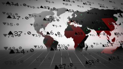 economic values and world map Animation
