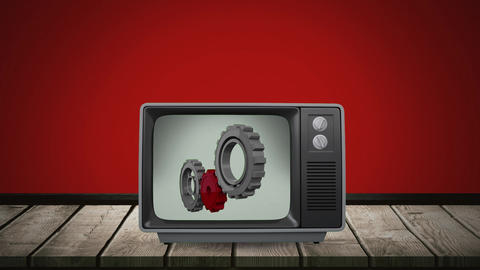 Television with gears on its screen Animation