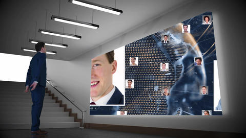 Businessman looking at projector screen with pictures Animation