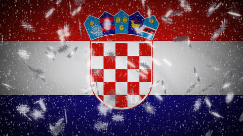 Croatia flag falling snow loopable, New Year and Christmas background, loop Animation