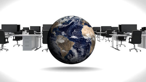 Globe rotating against black and white office Animation