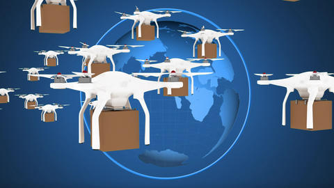 Drone delivering packages internationally Animation