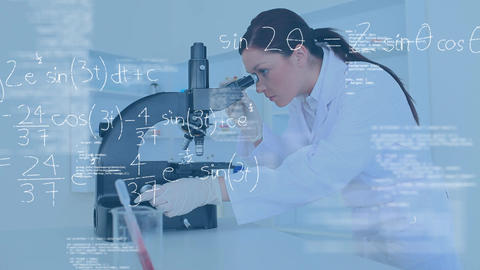 Scientist looking into a microscope with equations Animation