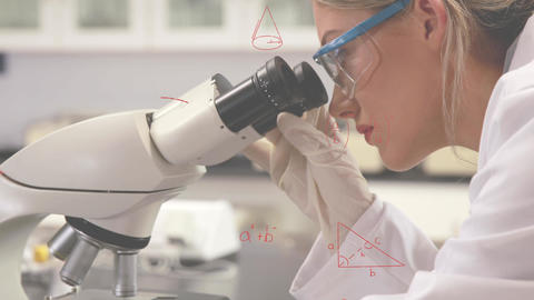 Scientist using the microscope Animation
