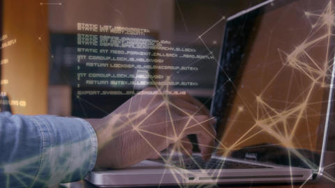 Man typing on laptop and connection lines and world map Animation
