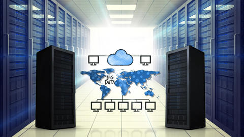 Cloud storage and a room filled with server towers Animation