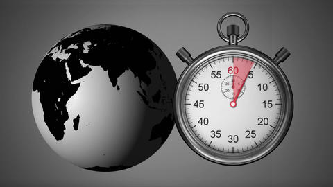 Globe and stopwatch Animation