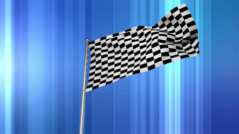 Racing flag in blue background Animation