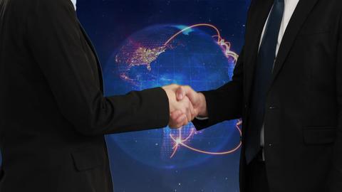 Businessmen closing a deal against digital globe Animation