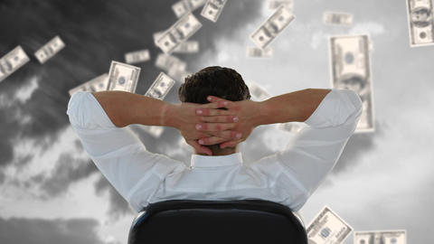 Businessman sitting outside while dollars fall down Animation