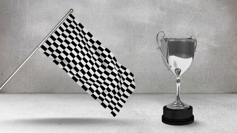 Racing flag with race trophy Animation