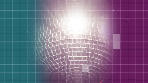 Spinning grey disco ball with blue and pink background Animation