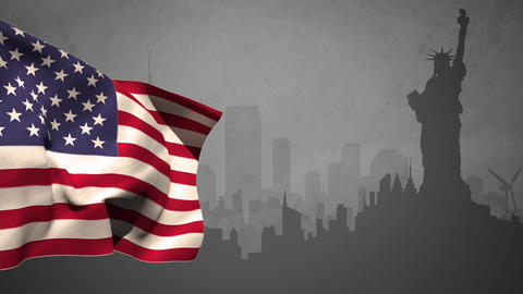US flag with statue of liberty silhouette Animation