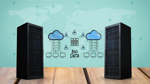 A pair of server towers for cloud storage Animation