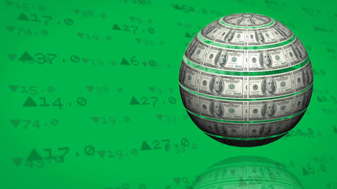 Dollar bills formed like a globe in green background Videos animados