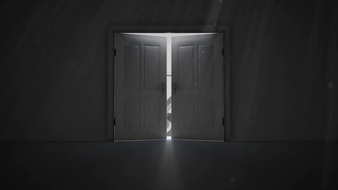 Double doors opening to reveal a compass Animation