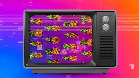 Retro televisionwith pineapple on the screen. Colorful screen sizzling on background Animation