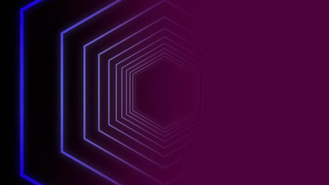 Purple hexagon shape against be color background Animation