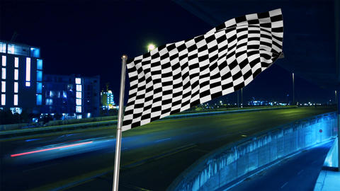 Racing flag on the highway Animation