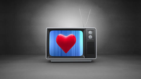 CRT television with a heart Animation