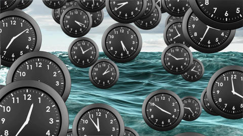 Clocks dropping in the ocean Animation