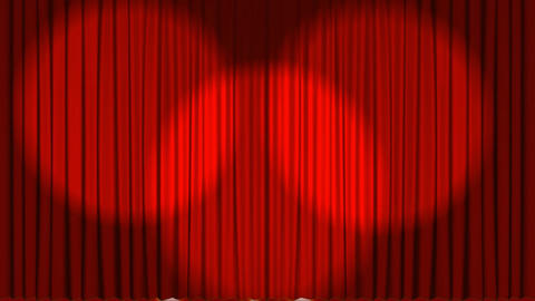 Animation of theater curtains opening and spotlight Animation