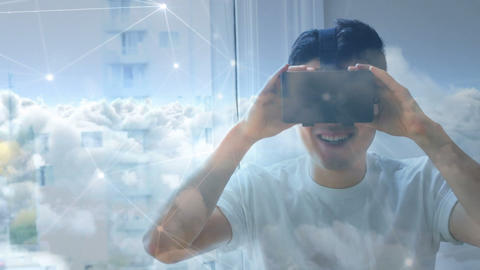 Man wearing a virtual reality headset smiling 4k Animation