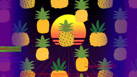 Pineapple with beatch sunset on center of video with sizzle srip on foreground Animation